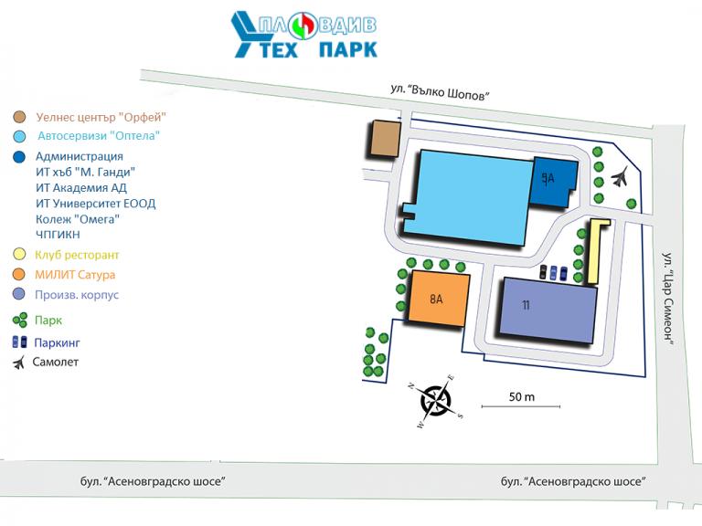 Карта на Пловдив Тех Парк